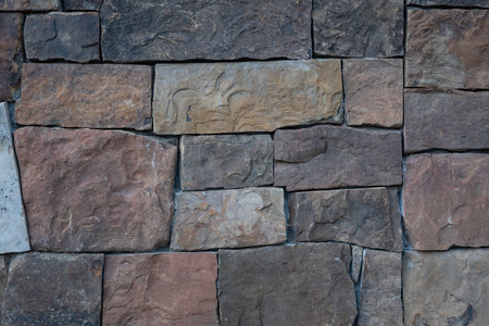Dry Stacked Stone Wall with large rectangles of varying colors
