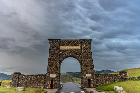 Gardiner, United States: June 23, 2018: Dramatic Clouds Above Roosevelt Arch