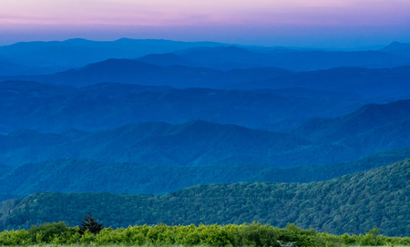 Layers of Blue Ridge Mountains at Sunset from a lookout along the Appalachian Trail Stock Photo