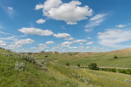 Rolling Prarie Hills in North Dakota on summer day Stock Photo