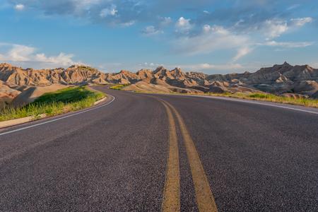 Road Winds Through Badlands National Park