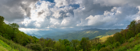 Panorama of Sun and Clouds Over Blue Ridge Mountains in early summer Banco de Imagens