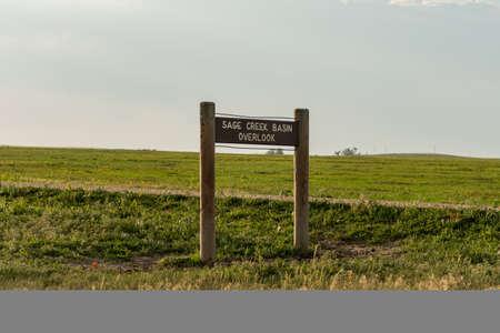 Sage Creek Basin Overlook Sign in Badlands