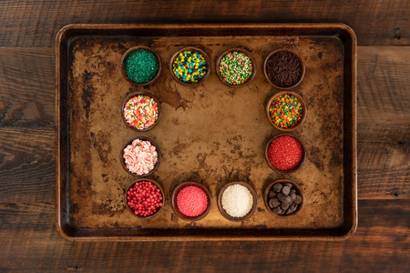 Square of Sprinkles on Cooking Sheet with space Banco de Imagens