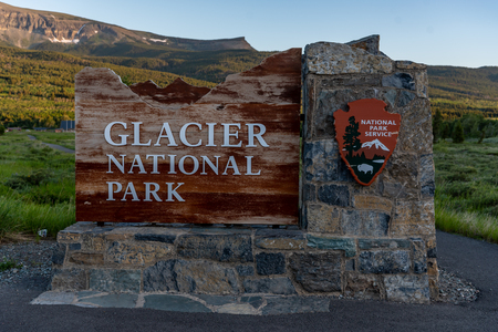 St. Marys, Montana, United States: June 27, 2018: Close Up of Glacier National Park Sign