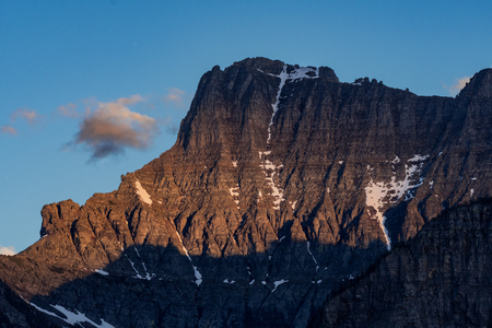 Evening LIght On Mount Oberlin from underneath Logan Pass Stock Photo