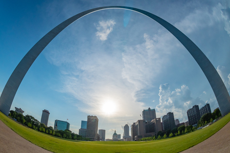 St. Louis, United States: June 11, 2018: Fisheye View of Arch from City Park in late afternoon