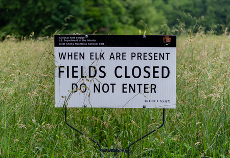 Fields Closed When Elk Are Present sign in National Park