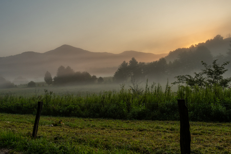 Fog and Old Fence In Cades Cove at sunrise