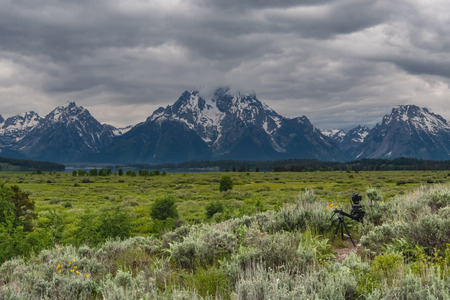 Camera Crane Setup Catches Time Lapse at Base of Teton Mountains
