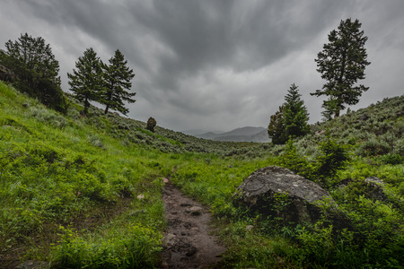 Dramatic Clouds Over Green Valley Cut By Trail
