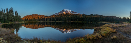 Panorama of Mount Rainier and Reflection Lakes at Dawn