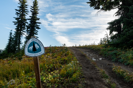 Pacific Crest Trail Marker and Trail Leading Uphill