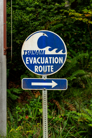 Tsunami Evacuation Route Sign Near Pacific Coast