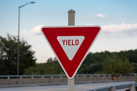 Yeild Sign on Bridge in red instead of yellow