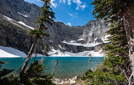 Blue Waters of Iceburg Lake sparkle in afternoon light