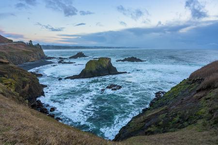 Cliffs at High Tide at Yaquina Head in Oregon