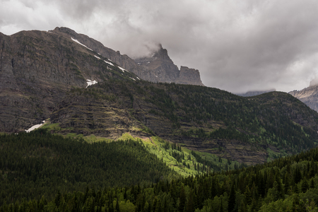 Fog Covers Mt Wilbur on stormy day in Montana wilderness