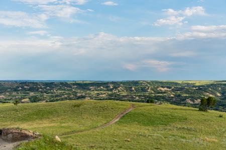Trail Crossing a Hill On The Prairie in North Dakota Badlands
