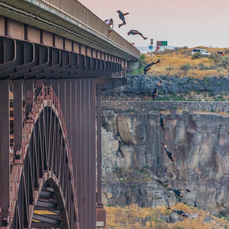 Twin Falls, United States: Sequence of Backflip in a Base Jump at a popular bridge launch site