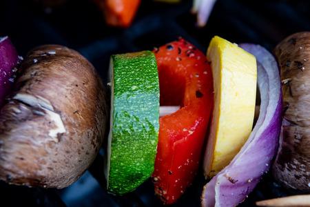 Vegetable Kabobs Grilling Close Up
