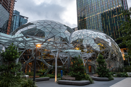 Seattle, United States: October 6, 2018: Entrance to Amazon Spheres