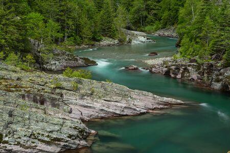 Blue Water of Haystack Creek in Montana wilderness