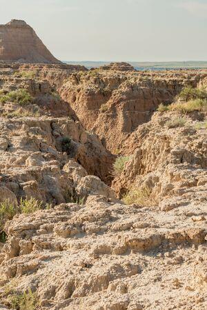Canyon in the Hoodoos of arid South Dakota Badlands