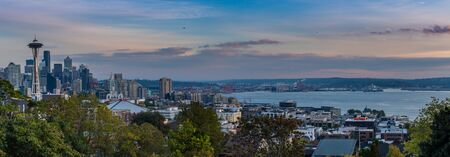 Seattle, United States: Ocotber 6, 2018: Panorama of Seattle Skyline from Kerry Park