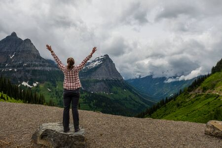 Stretching Out in Front of Montana Mountains near Logan Pass