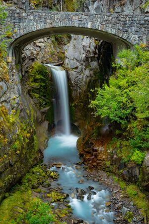 Christine Falls Pours into Pool Below Bridge in Mount Rainier National Park