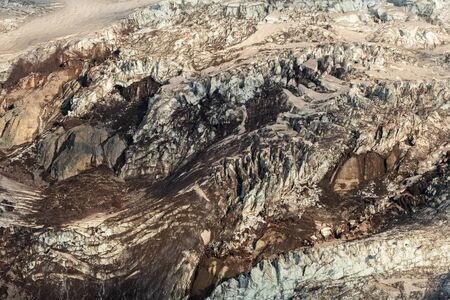 Detail of Snow and Mud on Glacier Surface below Mount Rainier