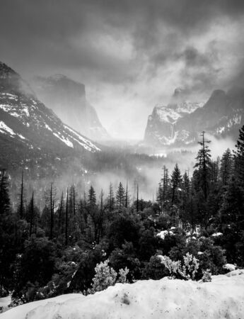 Winter Storm Clearing Yosemite Valley.DNG in Black and White