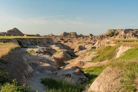 Ravine Through Badlands Rock Formations