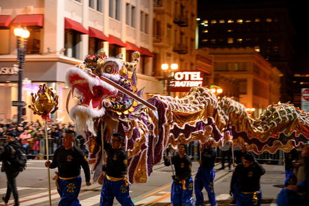 February, 23, 109: Purple and Gold Chinese Dragon in New Year Parade