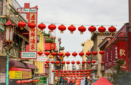 San Francisco, United States: February 23, 2019: Red Lanterns over China Town