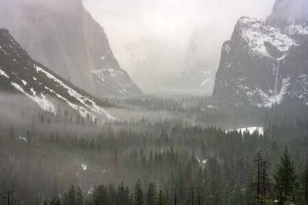 Whisps of Fog In the Trees Below Tunnel View during winter storm