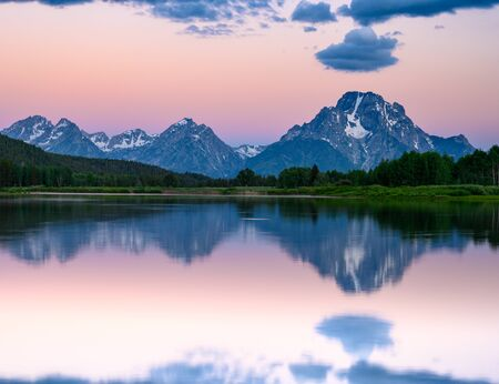 Cotton Candy Skies Linger Behind Grand Teton Mountain range