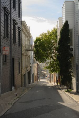Looking Down a Narrow Alley of San Francisco street Stock Photo