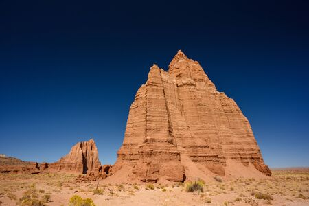 Deep Blue Sky Over Temple of The Moon in Cathedral Valley