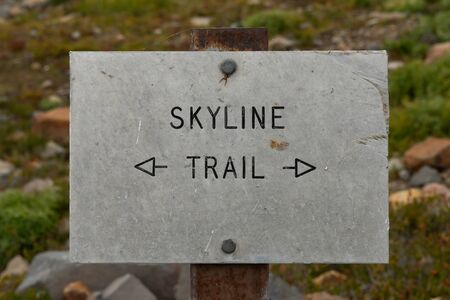 Skyline Trail Arrows Sign at Intersection in Mount Rainier 写真素材