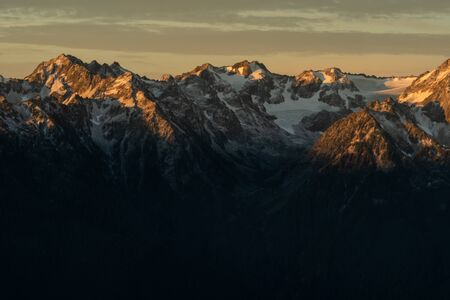 Morning Light Casts Over the Tops of Hurricane Ridge in Washington Banco de Imagens