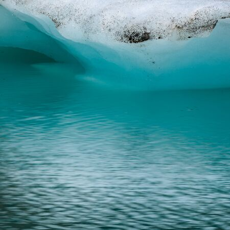 Blurry Motion of Water Below Iceberg in mountain lake