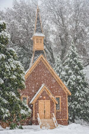 Yosemite Valley Chapel In Snow Storm in winter