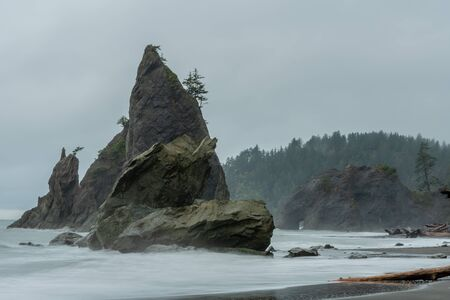 Sea Stacks And Crashing Waves At Rialto Beach on foggy morning