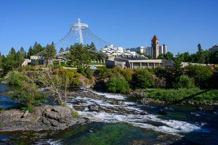 Spokane, United States: August 1, 2019: Public Space Along River in Spokane
