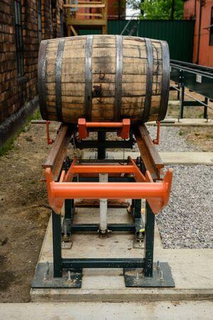 Bourbon Barrel on a Lift at distillery