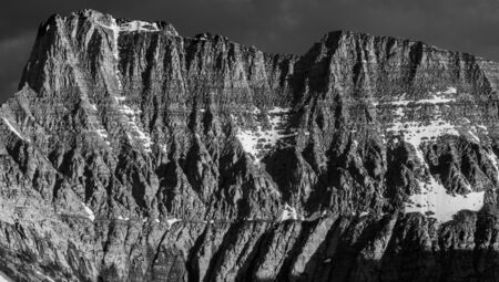 Black and White Detail of Mountain Edge in Northern Rockies Stock Photo