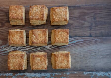 Nine Square Biscuits With Copy Space to right