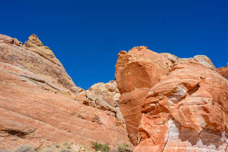 Bright Orange Sandstone and Deep Blue Sky in nevada desert